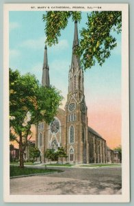 Peoria Illinois~St Marys Cathedral~Stained Glass Windows~Twin Steeples~c1935 PC