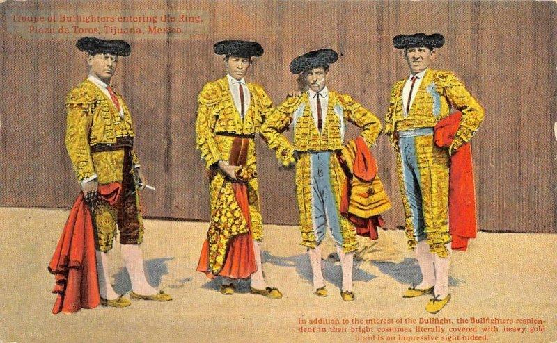 Bullfighters, Plaza de Toros, Tijuana, Mexico c1910s Vintage Postcard