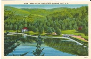 Lake on the Cone Estate Blowing Rock North Carolina Vintage Postcard Linen