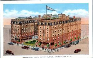 ATLANTIC CITY, New Jersey  NJ   South Illinois Ave. CRAIG HALL ca 1930s Postcard