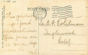 C-1910 Hand Colored Fidelity Bldg Streets Tacoma Washington Postcard 21-3720