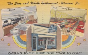 Pennsylvania Warren The Blue & White Restaurant 1950 sk5635