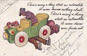 Mechanics working on convertible automobile, Poem, PU-1908
