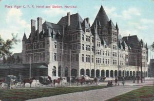 Place Viger C.P.R. Hotel and Station, Horse-drawn Carriages, Montreal, Quebec...