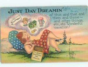 Linen Risque signed CHUBBY FAT GIRL DAYDREAMING AB6619