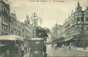 brazil, RIO DE JANEIRO, Avenida Rio Branco, Tram Car (1910s) Stamp
