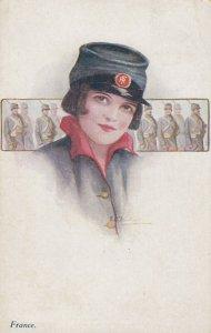 Female Head Portrait , 00-10s ; FRANCE ; Girl Soldier