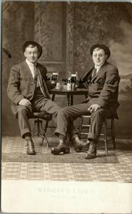Two Bums from Antigo Wisconsin~Twins Brothers~Beer Glasses~1913 Madison RPPC