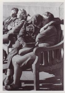 WW2 Women Soldier Soldiers Resting From VE War Victory Day Celebrations Postcard