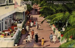 Florida Miami Springs Wofford Hotel Vacationers On Ocean Front Curteich