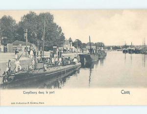 Pre-1907 TORPEDO BOAT - EARLY VIEW OF SUBMARINE Caen - Calvado France F5207