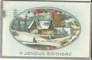 Country Winter scene Farmhouse Red Clover Snow Vintage Postcard 1911 Birthday