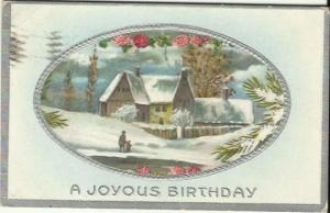Country Winter scene Farmhouse Red Clover Snow Vintage Postcard 1911 Birthday