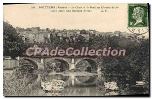 Old Postcard Poitiers (Vienna) The Clain and the Railway Bridge
