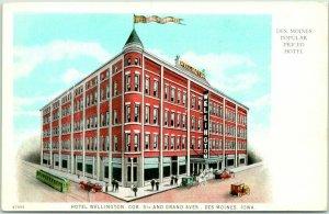 Vintage 1920s Des Moines, Iowa Postcard HOTEL WELLINGTON Popular Priced Hotel