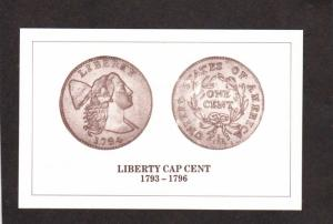 US Coins Coinage Money Copper Penny Pennies Liberty Cap Cent Postcard