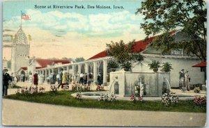 Des Moines, Iowa Postcard Scene at Riverview Park Amusement Park c1910