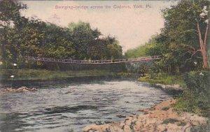 Pennsylvania York Swinging Bridge Across The Codorus