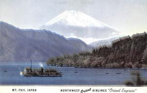 Japan Old Vintage Antique Post Card Northwest Airlines Orient Express Mt Fuji...