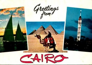 Egypt Cairo Greetings Showing Pyramids and Sailing On The Nile 1967