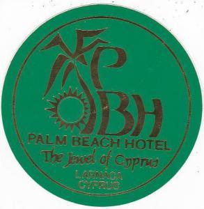 CYPRUS LARNACA PALM BEACH HOTEL VINTAGE LUGGAGE LABEL