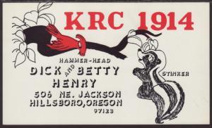 KRC-1914 Henry Hillsboro,OR QSL Card