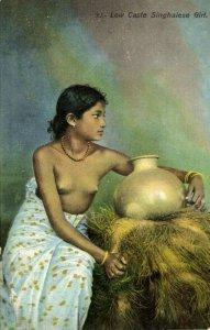 ceylon, Beauty Nude Singhalese Woman of Low Caste, Pottery (1910s) Postcard