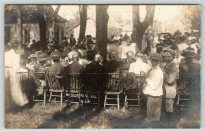 Bishop Hill Illinois~Swedish Commune Outdoor Dinner~Family Picnic~Boys~1911 RPPC