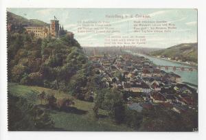 Germany Heidelberg from the Terrasse Poem Postcard Vintage c 1910