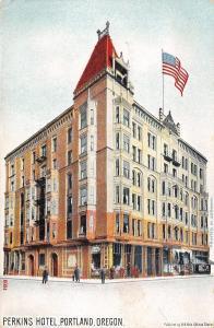 Portland Oregon~Perkins Hotel~Steep Mansard Roof Tower c1906 UDB Printed Germany