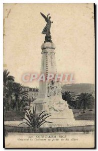 Old Postcard French Riviera Nice Centennial monument to King Albert of the ga...