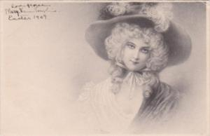 Beautiful Victorian Lady Wearing Large Hat