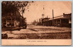 Redding California~Yuba Street~Mercantile Company~Notions~Dirt Road~1909 Sepia