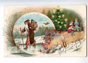 204703 RUSSIA NEW YEAR Santa Claus kids rod ART NOUVEAU litho