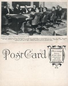 PORTSMOUTH N.H. RUSSIAN & JAPANESE PEACE AMBASSADORS 1905 ANTIQUE POSTCARD
