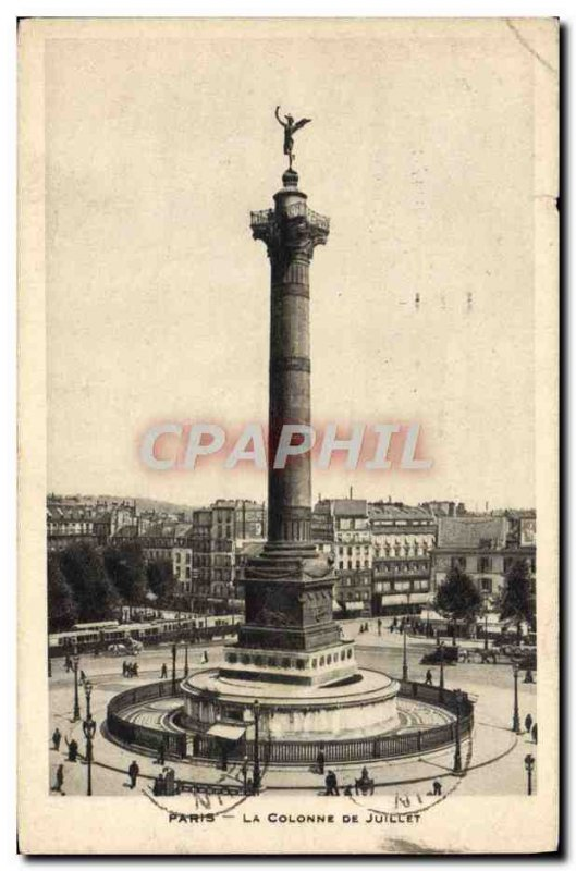Old Postcard Paris Column From July