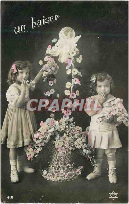Old Postcard A Kiss Kids Flowers