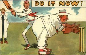 DO IT NOW! Prank Comic Cricket Paddle Obese Man c1910 Postcard rpx