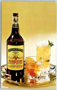 Vintage Chrome Advertising Postcard FLEISCHMANN'S BLENDED WHISKEY c1950s Unused