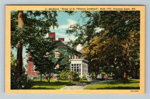 Princess Anne MD-Maryland, Beckford, Home H Fillmore Lankford, Linen Postcard