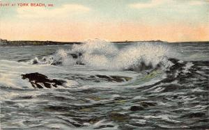York Beach Maine~Huge Waves Beat Against The Rocks~Resort in the Distance c1910