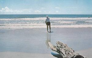 Man Fishing on Beach , Myrtle Beach , South Carolina , 40-60s