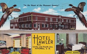 MITCHELL, South Dakota, PU-1953; Hotel Lawler, Guest Room And Lobby