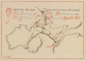 Gallipoli Peninsula ANZAC Australian War Map Postcard