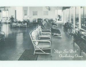 1940's SHIP'S SUN DECK AT COLTON MANNER HOTEL Atlantic City New Jersey NJ HQ0141
