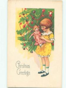 Pre-Linen Christmas GIRL FINDS NEW DOLL LEFT BY SANTA CLAUS AB5549