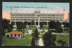 Elevated View St James Building & Hemming Park Jacksonville Florida Unused c1910