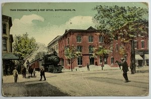 Rare DB Hand-Tinted Postcard Train Crossing Square & Post Office Shippensburg PA