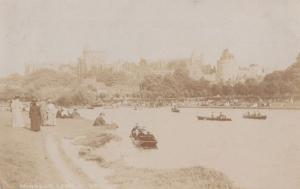 Rowing Boats in Summer Fashion Windsor Castle Berkshire Old Real Photo Postcard