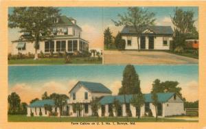 Berwyn Maryland~Beyer Farm Cabins on U.S. No 1~1940s Linen Roadside Postcard